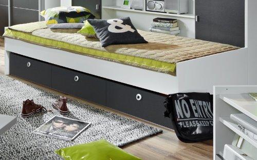 Rauch Jugendbett Chica mit Schubkästen grau-metallic/alpinw, LIEGEFLÄCHE CA.90X200 CM