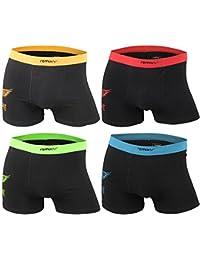 "Men's Fashion Lounge Herren Boxershorts ""Remixx MBOX036a Rockstar"", 4er Pack schwarz m. Trible in 4 Farben, Baumwolle m. Elasthan"