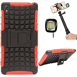 DMG Dual Hybrid Hard Grip Rugged Kickstand Armor Case for Sony Xperia Z3 (Red) + 3.5mm Continuous LED Spotlight Flash