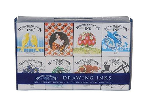 Winsor & Newton 1090093 Kalligraphie Set Henry (Zeichentusche in 8 Farben - Blau, Kanariengelb,...