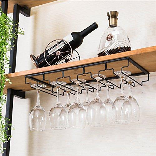 Supmeet™ Gläserhalter Gläserschiene edelstahl Glas Wein Champagner Cup Hangers Rack Halter mit Schrauben für Bar, Zuhause, Cafe (5 Schlitze, Schwarz) (Wein-bar-rack)