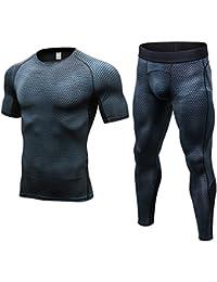 Fitibest Collant a Compressione Set Sports Maniche Lunghe Sport T-shirt  Pantaloni Vestiti Ultra Running a4a8a8fa437