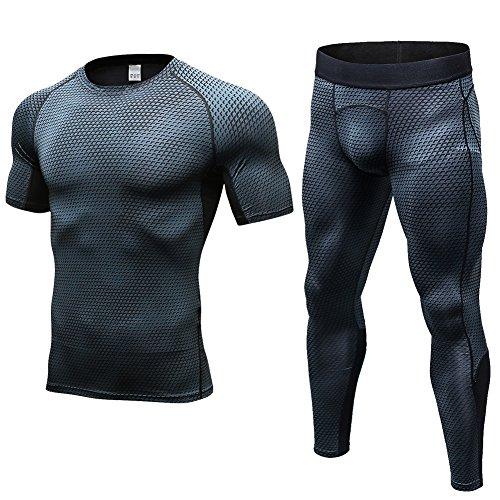 Fitibest Compression Homme Collantsr Set Sports Quick Set à Manches Longues Pantalons T-shirt Set Vêtements Bodysuit pour Les Hommes (L, Réseau noir)