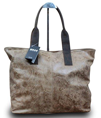 Made in Italy Luxus Damen Schultertasche Shopper Donna Bella Leder , Farbe:Schwarz Braun