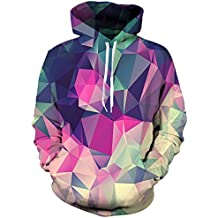 LAIDIPAS Unisex Realistic 3D Galaxy Printed Big Pockets Drawstring Pullover Hoodie Hooded Sweatshirt