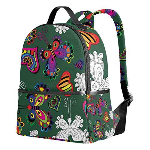 Ahomy Schulrucksäcke fabelhaftes Muster mit Insektenherzen Rucksack Schultertaschen für Mädchen Jungen