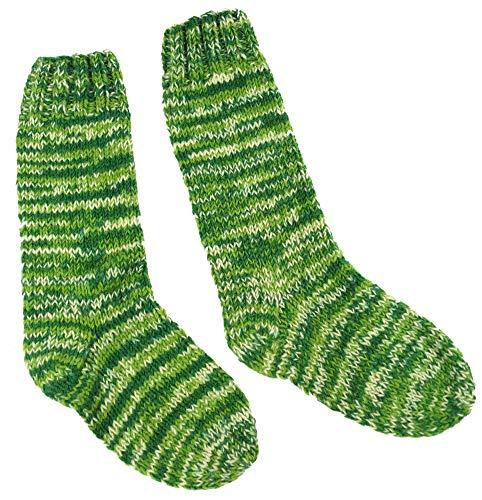 Guru-Shop Handgestrickte Schafwollsocken, Nepal Socken, Herren/Damen, Grün, Wolle, Size:L (42-46), Socken & Beinstulpen Alternative Bekleidung -