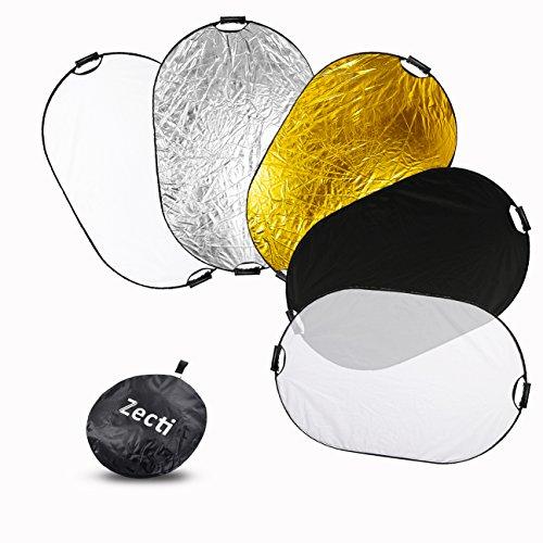 Zecti Reflector de luz plegable 5 en 1 Reflector de luz fotográfica de 40x59 pulgadas (Translúcido, Oro, Plata, Blanco y Negro)