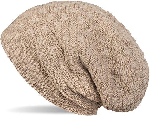 styleBREAKER warme Feinstrick Beanie Mütze mit Flecht Muster und sehr weichem Fleece Innenfutter, Unisex 04024058, Farbe:Hellbraun (Stricken-mütze)