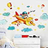 #8: Decal Design Wall Stickers Cartoon Airplane with Clouds Stars Childrens Room Cute School Classroom Decorations