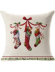 Clearance. hmlai decorativo fundas de almohada de Navidad lino cuadrado manta lino funda de almohada decorativa cojín almohada cubierta, 45cmx45cm, D