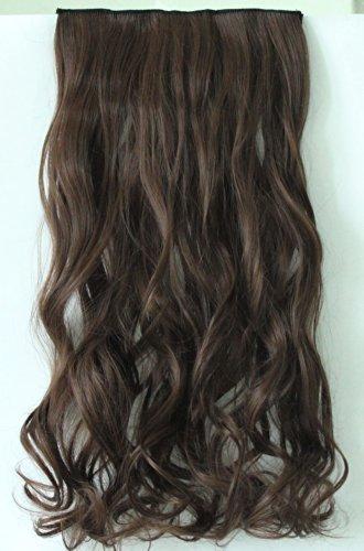 Devalook Barrette d'extension de cheveux synthétiques 5 clips 50,8/55,8 cm Raide/ondulé