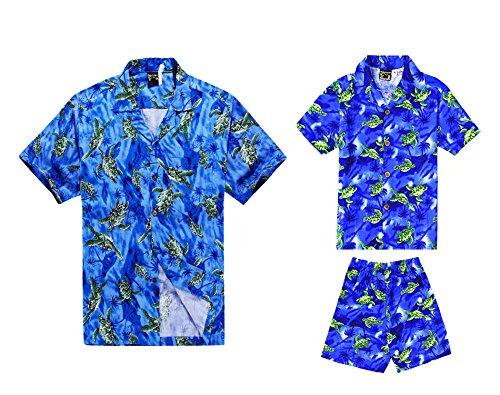A-juego-con-el-traje-del-padre-Son-Hawaiian-Luau-Camisa-de-hombre-Camisa-de-nio-Pantalones-cortos-Azul-con-tortugas-verdes-L-2