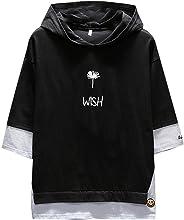 TUDUZ Blouse Men's Hoodie Casual Patchwork Half Sleeves Hooded Sport T Shirt Top Blouse XXL Black