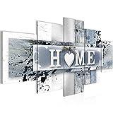 Bilder Home Herz Wandbild 200 x 100 cm Vlies - Leinwand Bild XXL Format Wandbilder Wohnzimmer Wohnung Deko Kunstdrucke Grau 5 Teilig - MADE IN GERMANY - Fertig zum Aufhängen 504551c