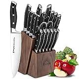 Emojoy Bloc de Couteaux, 18 Pièces Set Couteaux de Cuisine, Lot de Couteaux, Couteaux de Chef de Bloc en Bois,Allemagne Stainless Steel en Bois Pakka