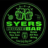 4x ccq44145-g SYERS Family Name Home Bar Pub Beer club Gift 3D Coasters