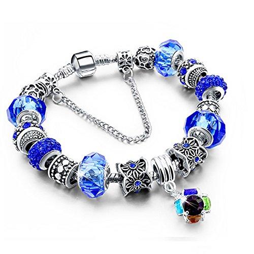 Bracciale donna e ragazza bead chain con bead placcato argento con zirconi - componibile, misura regolabile, compatibile pandora - massima brillantezza, alta qualità (blu)