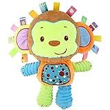 Zooawa Juguete Sonajero para Bebés, Infantiles Juguetes Afelpados de Alivio de Estrés para Bebés, Muñeca Sonajero Buena Asistente de Cuidar al bebé para Mamá, Monos