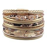 JAOYU Bracelet Manchette Cuir Femmes Wrap Bracelet Plume Bijoux Bracelet Fait Main Cadeaux pour Soeur, Adolescentes