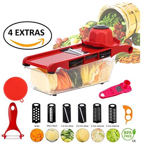 Gemüsehobel | 10 in 1 Gemüse und Obsthäcksler Zerhacker Würfelschneider Lebensmittel | 6 Edelstahlklingen | Mandoline + Knoblauchpresse, 2 Schäler, Schwamm|Von Kitchen's Master
