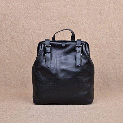 Première couche sac à dos sac à main unisexe en cuir souple à double usage Sac en cuir pour ordinateur portable Black