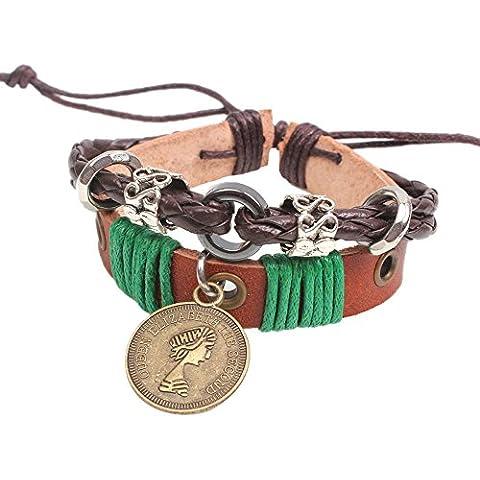 Invierno S Secret Verde Cuerda Ajustable Unisex Hecho a mano tejido la Restauración de Queen Patrón Coin Colgante trenzado marrón de cuero Wrap Pulsera