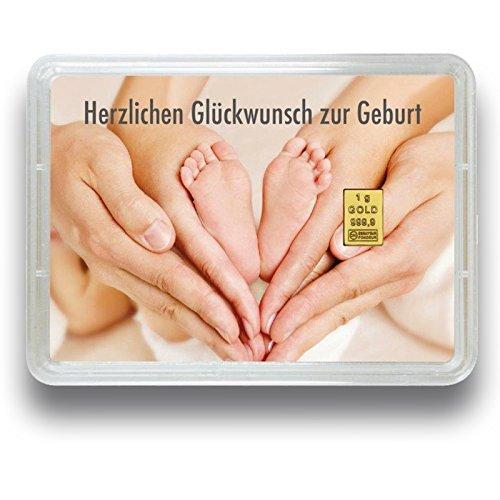 "Goldbarren 1 Gramm 999.9 Feingold - Motivbox \""zur Geburt\"" - Geschenk zur Geburt - Goldgeschenk"