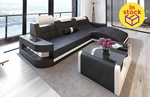 Divanova naos – divano letto angolare in vera pelle italiana - nero e bianco
