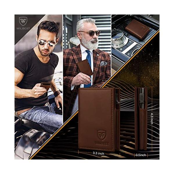 Portafoglio Uomo Pelle Porta Carte di Credito RFID Blocco Sottile Automatico Pop-up,Portafogli Senza Contatto di… 4 spesavip