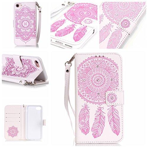 Custodia iPhone7, iPhone7 Case, Cozy Hut ® Custodia portafoglio / wallet / libro in pelle per iPhone7 - Cover elegante e di alta qualità con porta carte di credito e banconote Stampa creativa Chiusura Rosa e bianco