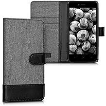kwmobile Funda para bq Aquaris U - Funda flip Wallet Case de tela con cuero sintético - Cover con tapa con tarjetero y soporte gris negro