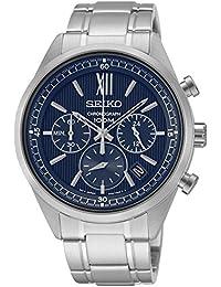 Seiko–ssb155p1–Quarz–Armbanduhr–Quarz Chronograph–Zifferblatt Blau Armband Stahl Grau