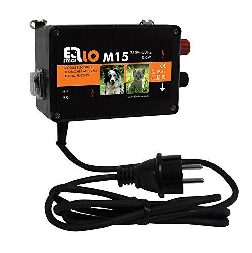 *Weidezaungerät / Elektrozaungerät Ellofence M15 – Extrem leise! – Abwehr gegen Hunde, Katzen und andere Kleintiere, 230V*