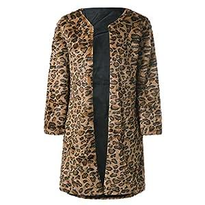 TianWlio Jacken Damen Winter Jacke mit Leopardenmuster und Langer Winterjacke Parka Mäntel Herbst Winter Warme Jacken Strickjacken Kaffee S/M/L/XL/2XL/3XL/4XL/5XL/6XL