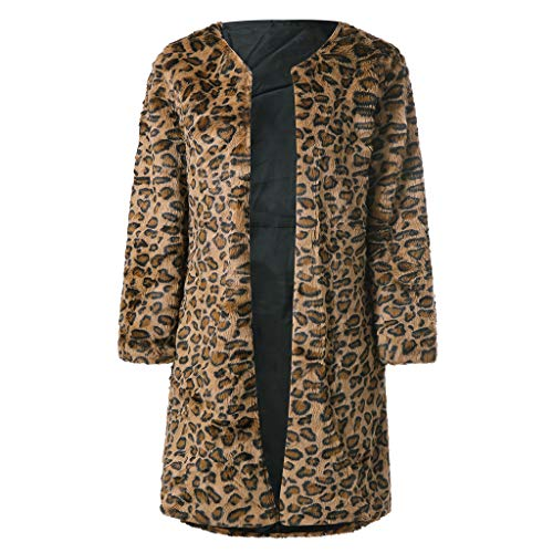 (i-uend 2019 Damen Mantel - Parka Outwear Cardigan Elegant Mantel Leopard Print Lange Trenchcoat Outerwear Warme Winterjacke)