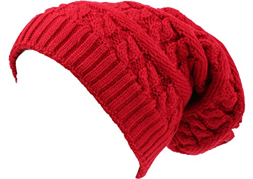 sakkas-16149-figaro-long-tall-classic-cable-knit-mit-kunstpelzfutter-unisex-beanie-hat-rot-os