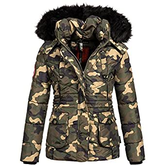 Marikoo VANILLA Damen Jacke Parka Stepp Winterjacke Steppjacke Teddyfell warm gefüttert 4Farben, Größe:XS - 34;Farbe:Camouflage