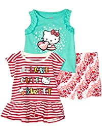 43bc37dbb Hello Kitty Baby Girls 3 Piece Short Set with Fashion Tank Top, Poppy red,