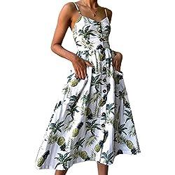 Vestidos de Mujer Summer Floral Bohemia Correa de Espagueti Abotonado Vestido Midi Swing con Bolsillos 16 Color
