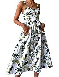 Vestidos de Mujer Summer Floral Bohemia Correa de Espagueti Abotonado Vestido Midi Swing con Bolsillos 16