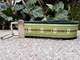 Schlüsselanhänger Schlüsselband Wollfilz dunkelgrün Webband Edelweiß hellgrün weiß Geschenk!