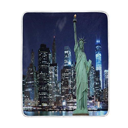 Use7 Home Decor Statue of Liberty Manhattan Skyline New York Decke weiche warme Decken für Bett Couch Sofa Leichtes Reisen Camping 127 cm x 152,4 cm Überwurfgröße für Kinder Jungen Damen