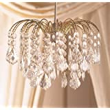 Elegant Large Gold Frame Waterfall Clear Acrylic Crystal Droplet Ceiling Light Fitting Pendant