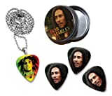 Bob Marley Collection With 3 Double Sided Loose Guitar Médiators Picks and Collier in Tin