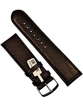 L&U Leder Uhrenarmband Ecoleder 24mm Braun Armband Uhr Band Watch Strap Neu
