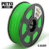 Filamento PETG, 1 kg (2.2 lb), PETG 1.75 mm, precisión dimensional 1.75 +/- 0.02 mm, materiales impresión 3D filamentos, compatible con mayoría de las impresoras 3D, PETG 1kg verde