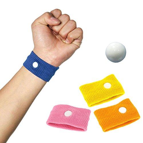 Mangotree Akupressur Anti-Übelkeit Relief Armbänder Reisen Seekrankheit Armbänder für Erwachsene Kinder und Schwangere (wiederverwendbar) (One Size, Rosa+Blau+Gelb+Orange)