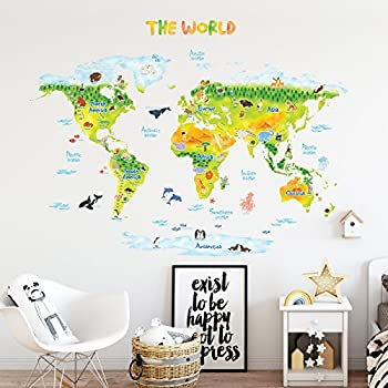 Decowall dlt 1615 animal world map kids wall stickers wall decals decowall dlt 1715 geological world map with animals kids wall stickers wall decals peel and stick removable wall stickers for kids nursery bedroom living gumiabroncs Image collections