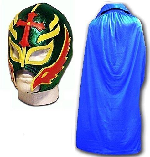 Son of the Devil grün Fancy Kleid Mexikanischen Wrestlers Erwachsene Mexican Wrestling Maske W/Blau Cape - Wrestling-cape Mexikanische